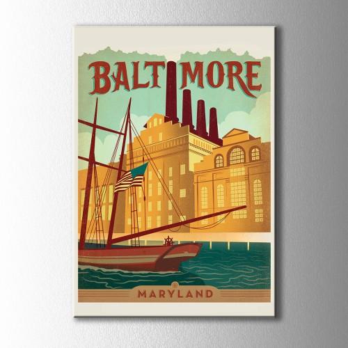 Retro Baltimore Kanvas Tablo