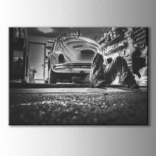 Retro Beetle Siyah Beyaz Kanvas Tablo
