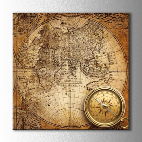 Retro Pusula ve Dünya Haritası Kare Kanvas Tablo