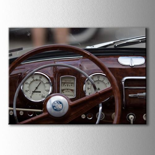 Retro Araba Direksiyonu Kanvas Tablo