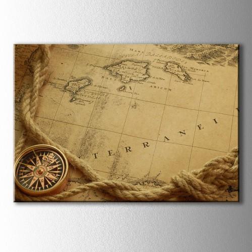 Retro Harita ve Kalın İp Kanvas Tablo