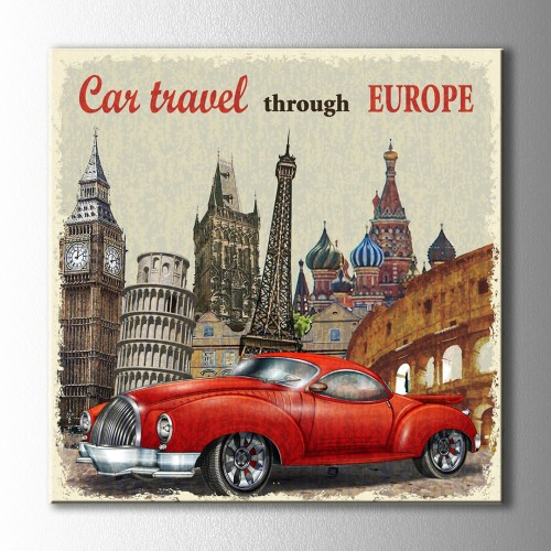 Vintage Car Travel Kanvas Tablo