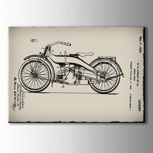 1924 Harley Davidson Planı Kanvas Tablo