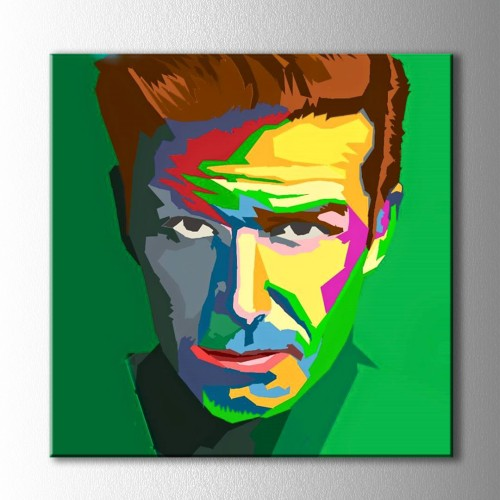 Popart Yeşil Fon Sert Adam Kanvas Tablo