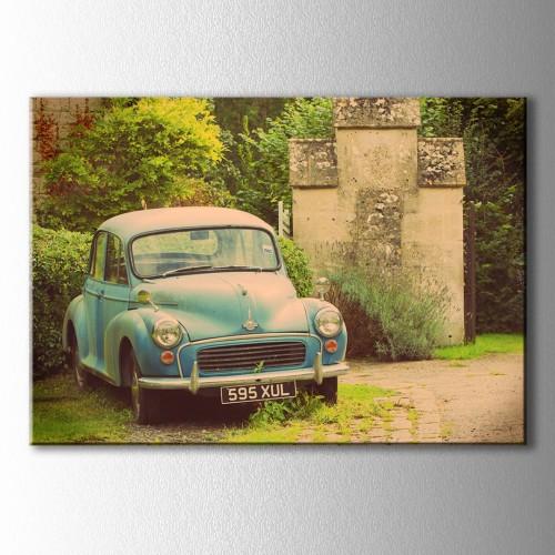 Vintage Klasik Mavi Araba Kanvas Tablo