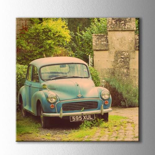 Vintage Klasik Mavi Araba Kare Kanvas Tablo
