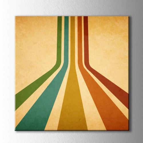 Vintage Derin Renkli Çizgiler Kare Kanvas Tablo