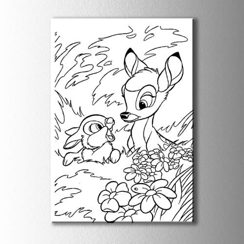 Ceylan ve Tavşan Boyama Kanvas Tablo