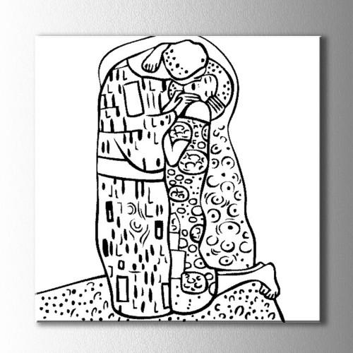Öpüşen Çift Boyama Kanvas Tablo