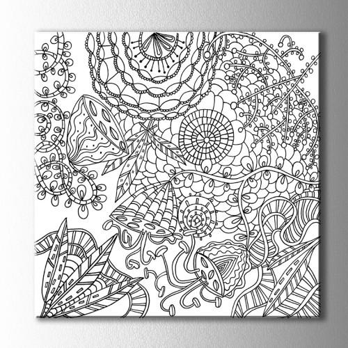 Kolaj Çiçekler Boyama Kanvas Tablo