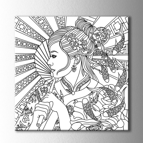 Uzak Doğulu Kız Boyama Kanvas Tablo