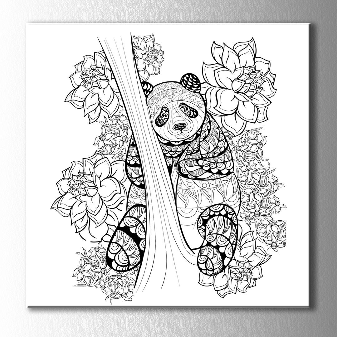 Ağaçtaki Panda Boyama Kanvas Tablo