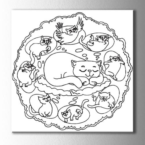 Kedinin Rüyası Boyama Kanvas Tablo