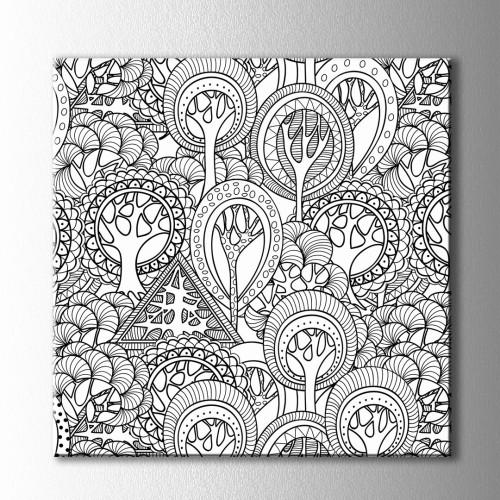 Ağaçlar ve Desenler Boyama Kanvas Tablo