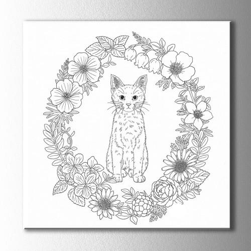 Çiçek ve Kedi Boyama Kanvas Tablo