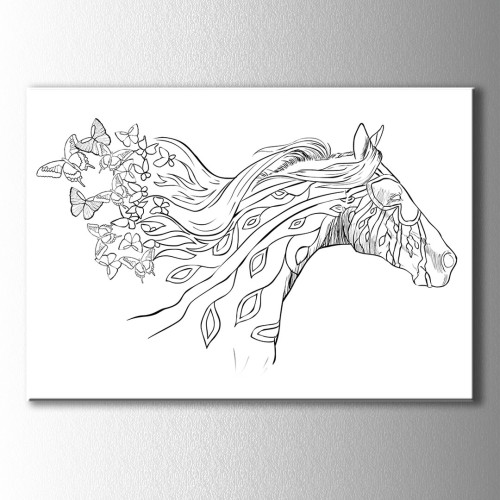 At ve Çiçekler Boyama Kanvas Tablo