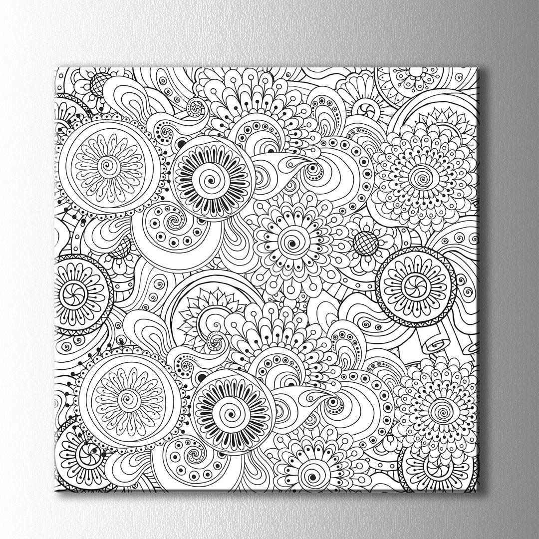 çiçek Desen Boyama Kanvas Tablo