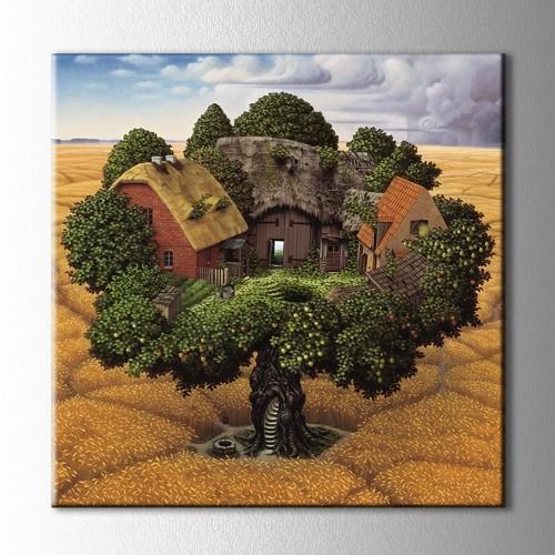 Ağaçtaki Evler Kanvas Tablo
