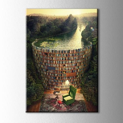 Kütüphane Kanvas Tablo