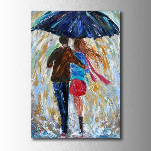 Şemsiyeli Çift Kanvas Tablo