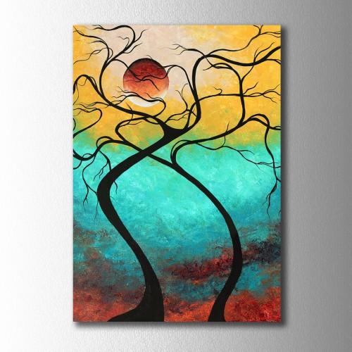 Kırmızı Ay ve İki Ağaç Kanvas Tablo
