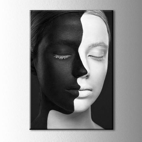 Siyah Beyaz Yüz Kanvas Tablo