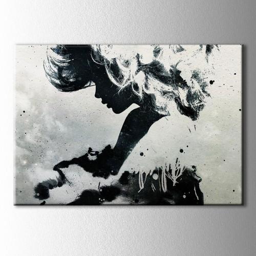 Siyah Beyaz Siluet Kanvas Tablo