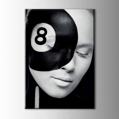 Siyah Beyaz Sekiz Kanvas Tablo