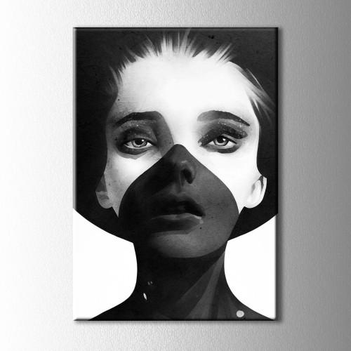 Siyah Beyaz Sapkalı Kadın Kanvas Tablo