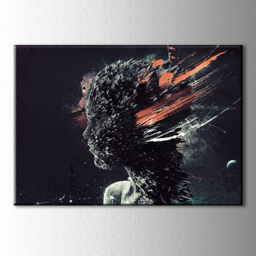Yağlı Boya Görünümlü Turuncu Kanvas Tablo