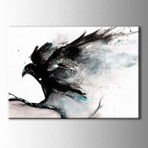 Siyah Beyaz Kuzgun Kanvas Tablo