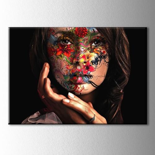 Renkli Yüzlü Kadın Kanvas Tablo
