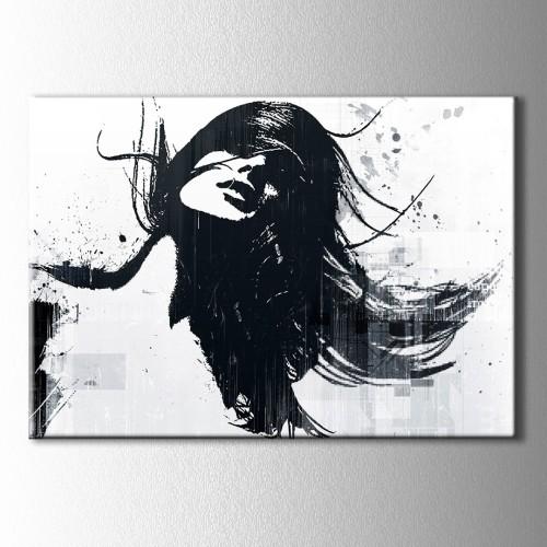Siyah Beyaz Kadın Çizim Kanvas Tablo