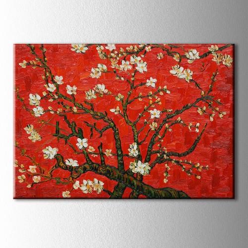Çiçek Açan Badem Ağacı Kırmızı Kanvas Tablo
