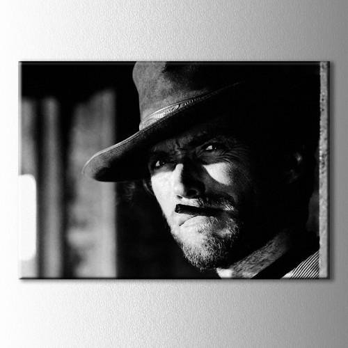 Siyah Beyaz Clint Eastwood Kanvas Tablo