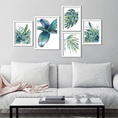 Tropik Yapraklar Çerçeveli Poster Seti