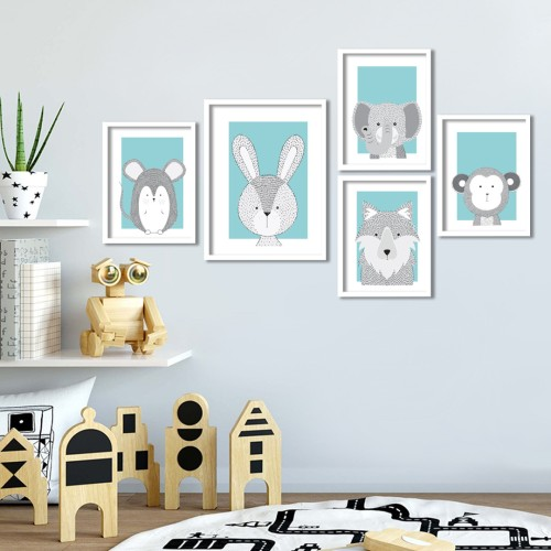 İkon Hayvanlar Mavi Çerçeveli Poster Seti