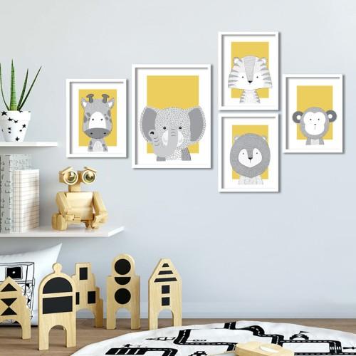 İkon Hayvanlar Sarı Çerçeveli Poster Seti