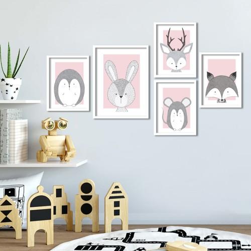İkon Hayvanlar Pembe Çerçeveli Poster Seti