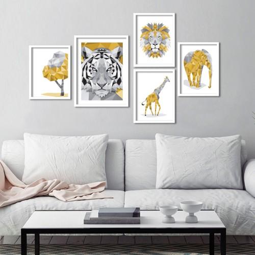 Geo Sarı Hayvanlar Çerçeveli Poster Seti