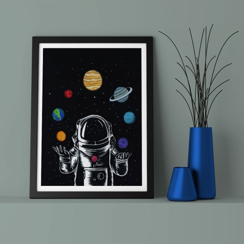 Çizim Astronot Çerçeveli Poster