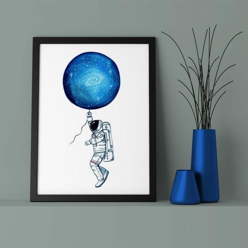 Mavi Gökyüzü Astronot Çerçeveli Poster