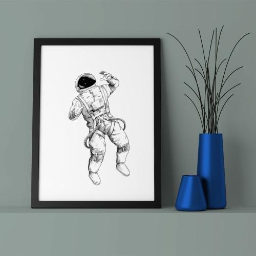 Astronot Çerçeveli Poster