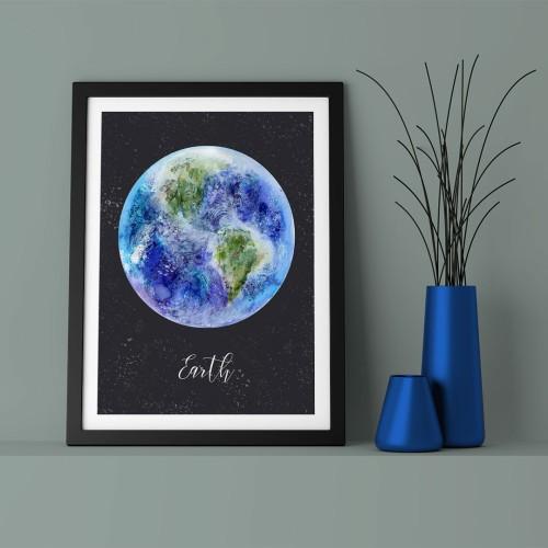 Earth Çerçeveli Poster