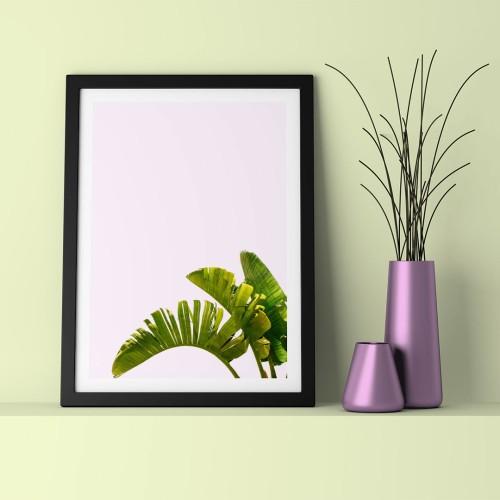Yeşil Yaprak Çerçeveli Poster
