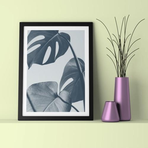 Gri Yapraklar Çerçeveli Poster