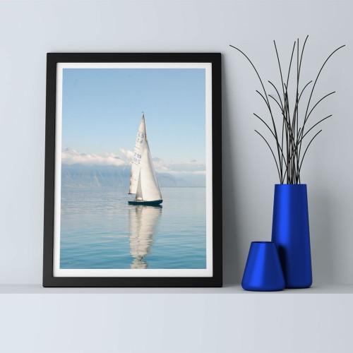 Beyaz Yelkenli Çerçeveli Poster