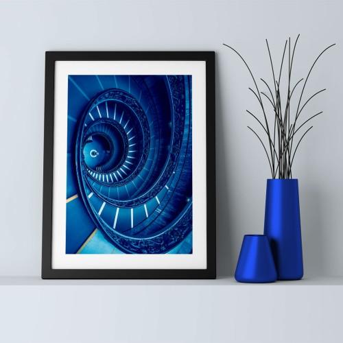 Mavi Merdiven Çerçeveli Poster