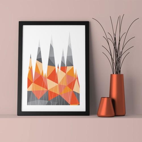Turuncu Geo Üçgenler Çerçeveli Poster