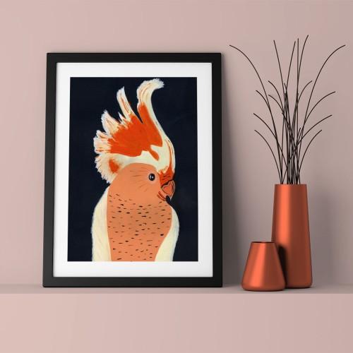 Turuncu Papağan Çerçeveli Poster